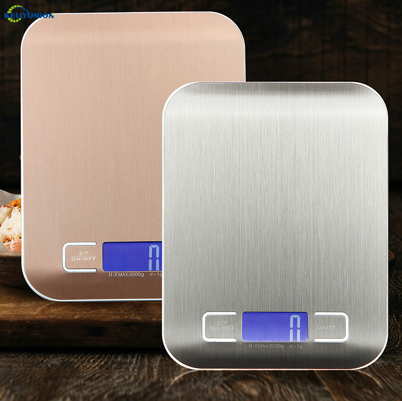 Easy-using Kitchen Scales Stainless Steel mental white rose gold Measuring Weighing Scales with LCD Display