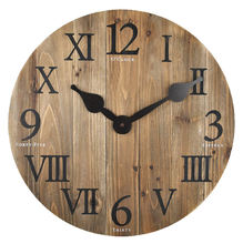 Mix of Roman and Arabic numbers Rustic Barn Wood Wall Clock