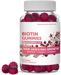 Biotin Hair Skin & Nails Gummies Vegetarian Hair Vitamins with Biotin Gummy
