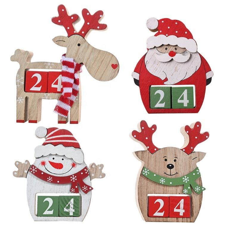 Xmas Christmas Decorations Santa Claus and Reindeer Christmas Wooden Advent Calendar