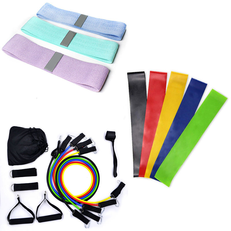 fitness yoga adjustable latex elastic fabric hip resistance bands set long exercise wholesale 11 pice latex loop band tubes gym