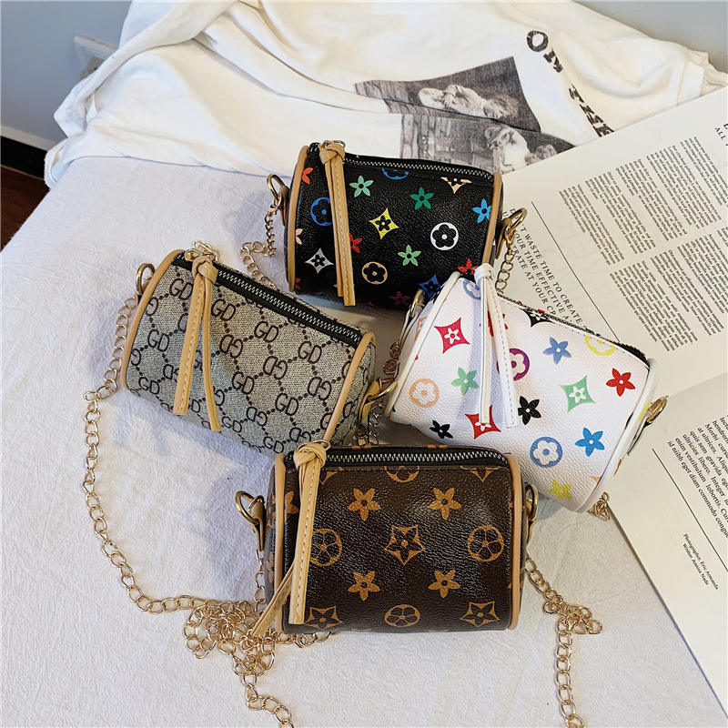 2021 Wholesale Children Vintage Crossbody Girls Purse Cylinder Kids Purses Handbag Fashion Mini Baby Shoulder Bag
