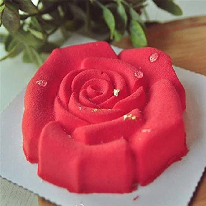 Non Stick 9.4Inch 3D Round Rose Shape Baking Cake Pan Silicone Mold Wedding Anniversary Birthday Cake