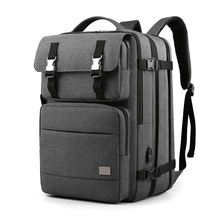 Wholesale high capacity double zipper multiple compartments travel laptop backpack usb port charging bag business backpack