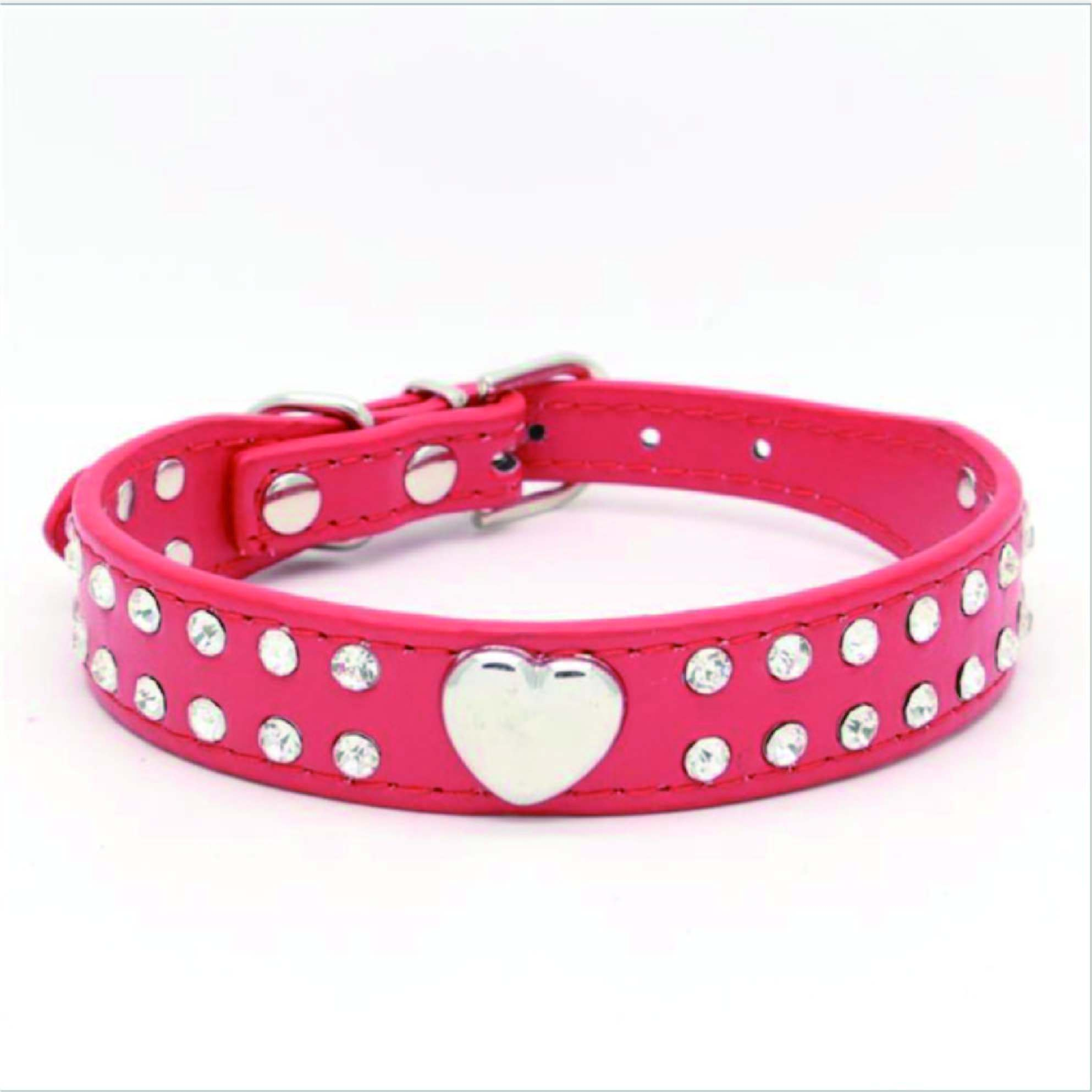 red heart design pu pet collar Valentine's Day dog collar