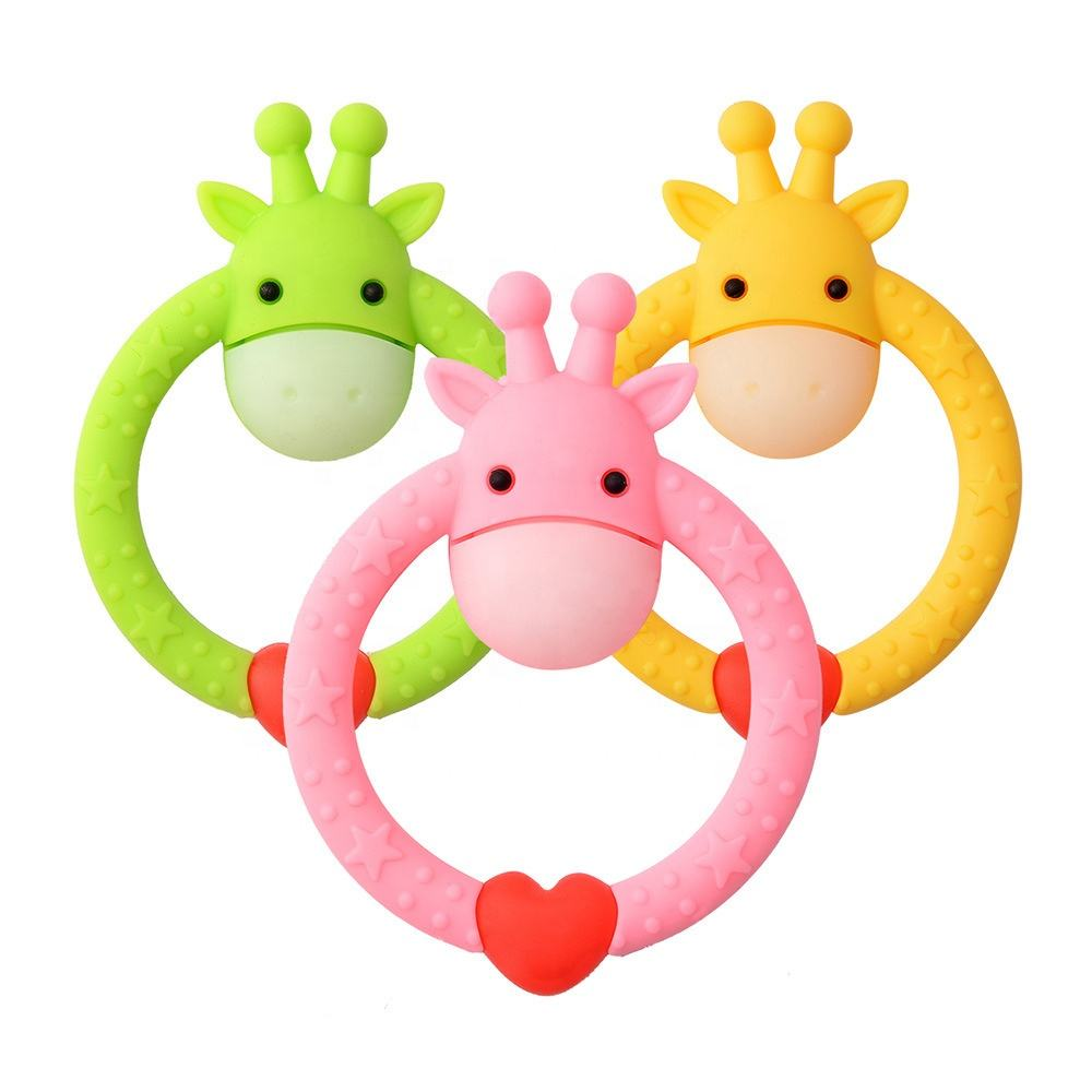 Safe Silicone Teething Baby Teether Rattle