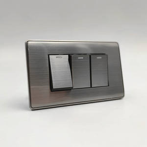 118 120 mm Thailand type 3 gang push button wall switch modern stainless steel panel for home