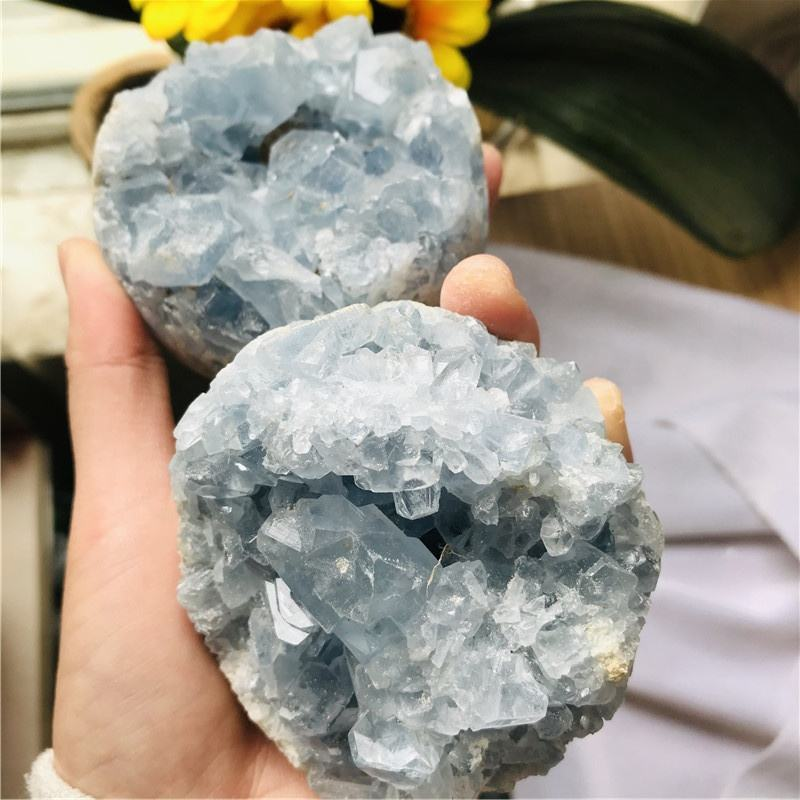 Wholesale Natural Healing Crystal Quartz Blue Calcite Cluster Geode for Decoration