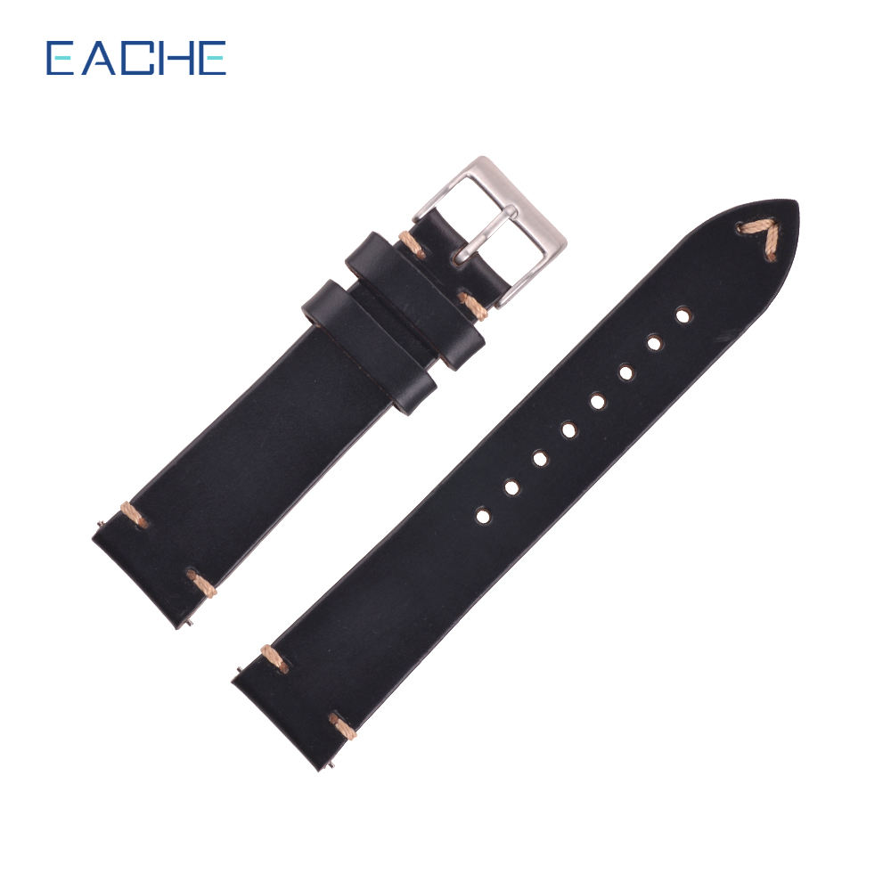 EACHE Luxury Vintage Real Leather Bracelet Watch Wrist Band 20mm With Quick Release
