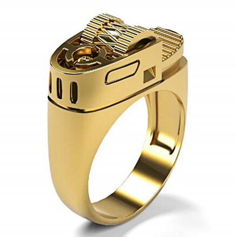 Komi Punk Creative lighter ring Euro American punk style 14K Gold Plated men's ring Size 6 to 13