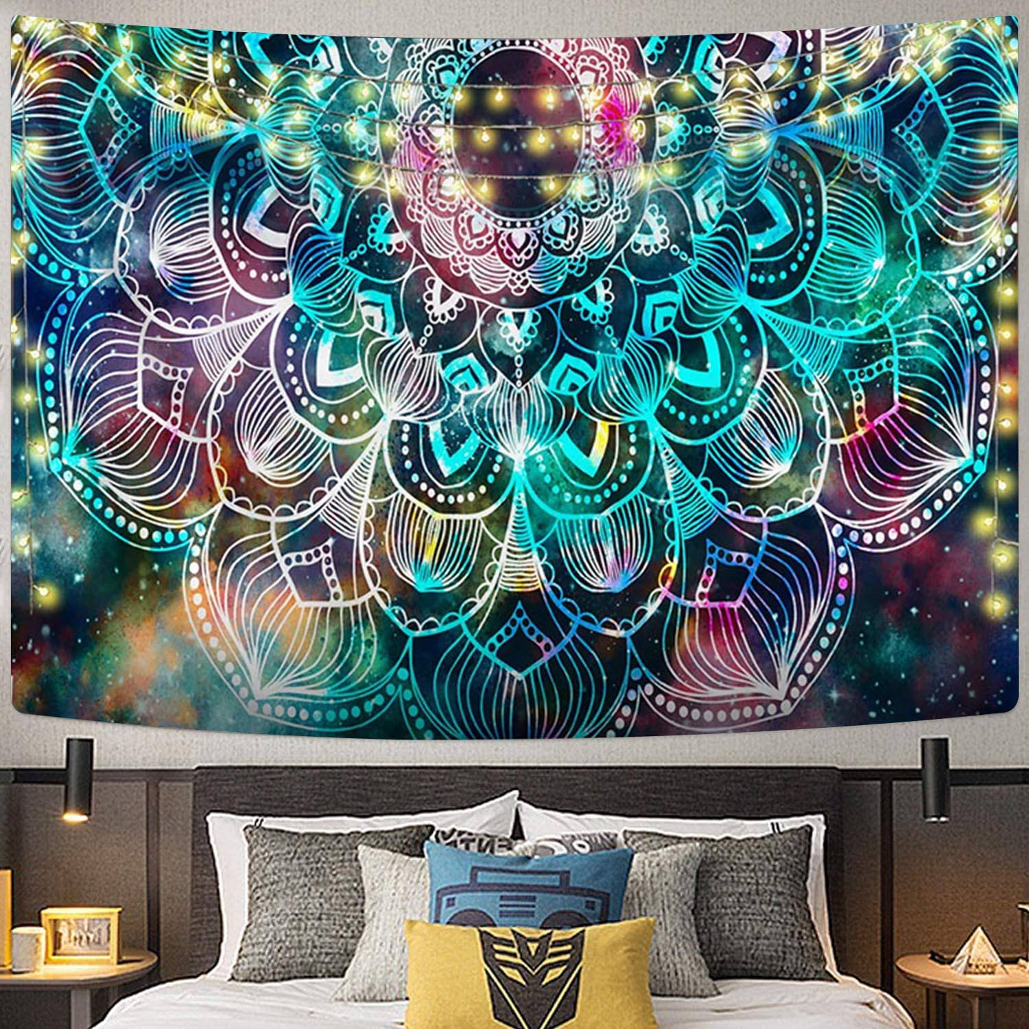Manufacturer Colorful Abstract Hippie Trippy Wall Hanging Aubusson Mandala Tapestry Wall Tapestry For Home Decor