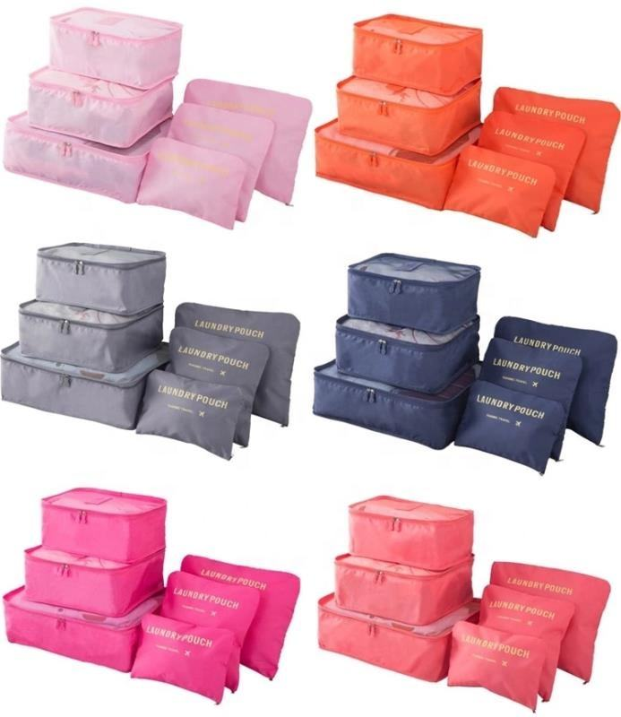 New arrival compression packing cubes 6 piece travel laundry pouch lightweight organizers outdoor travel storage bag