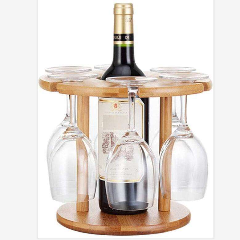 Wine Glass Drying Rack and Bottle Holder, Natural Wood Bamboo Wine Rack,Perfect for Wine Lovers and Guests