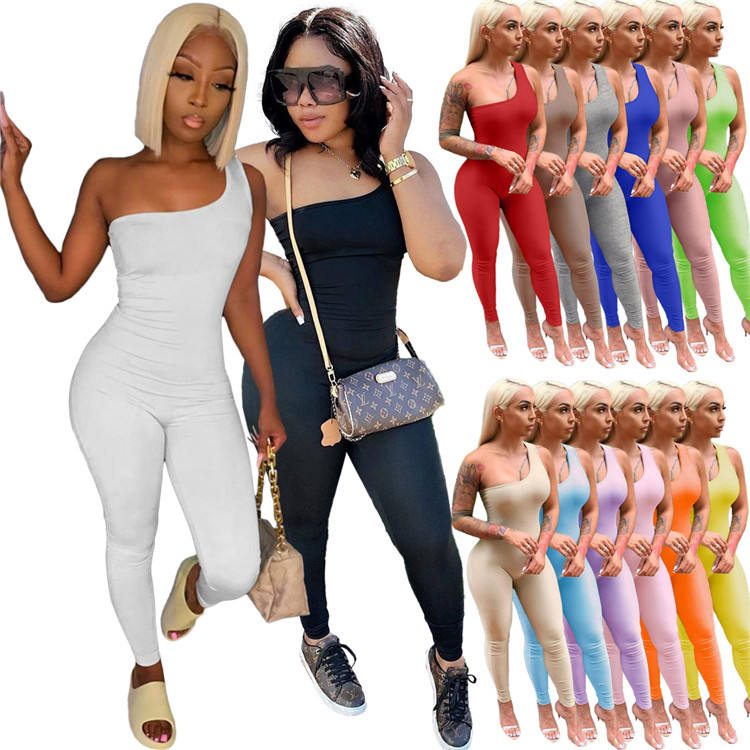 2021 Sexy Ladies Bodycon Rompers One Shoulder Sleeveless Nightclub Wear Summer Women One Piece Jumpsuits