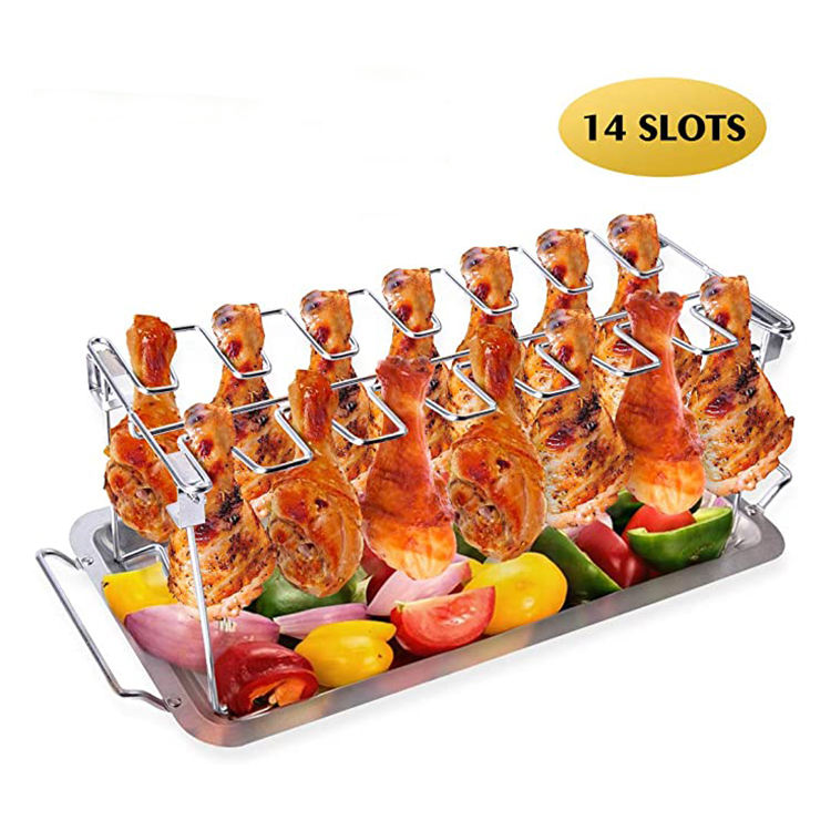 14 Slots Stainless Steel Vertical Roaster Stand with Drip Pan Foldable Chicken Wing Leg Grill Rack for Grill Smoker or Oven