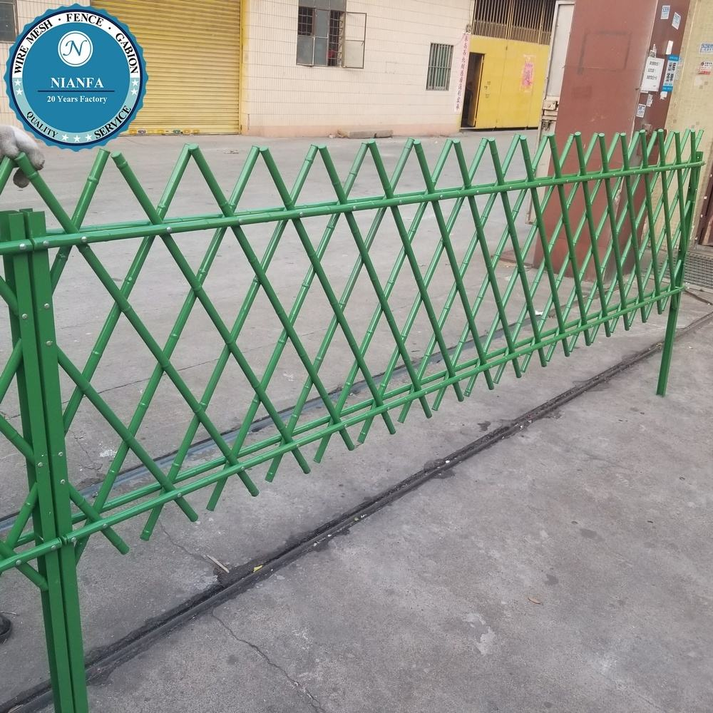 green color coated picket bamboo fence/ steel metal bamboo fencing panel/ no dig high quality stainless steel garden fences