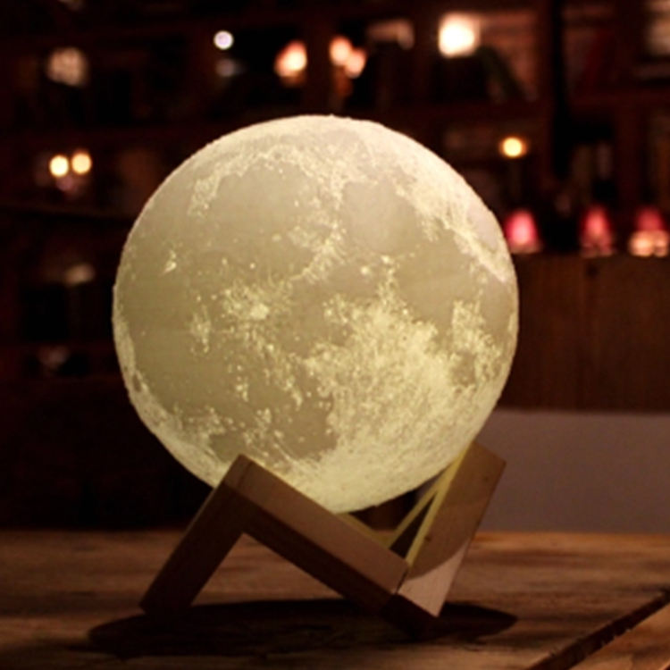 Best-selling led night light 15cm 3 colors touch switch 3d printing light 3d moon lamp
