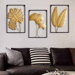 Handmade Gold Metal Wall Art Gingko Leaf for Home Decoration