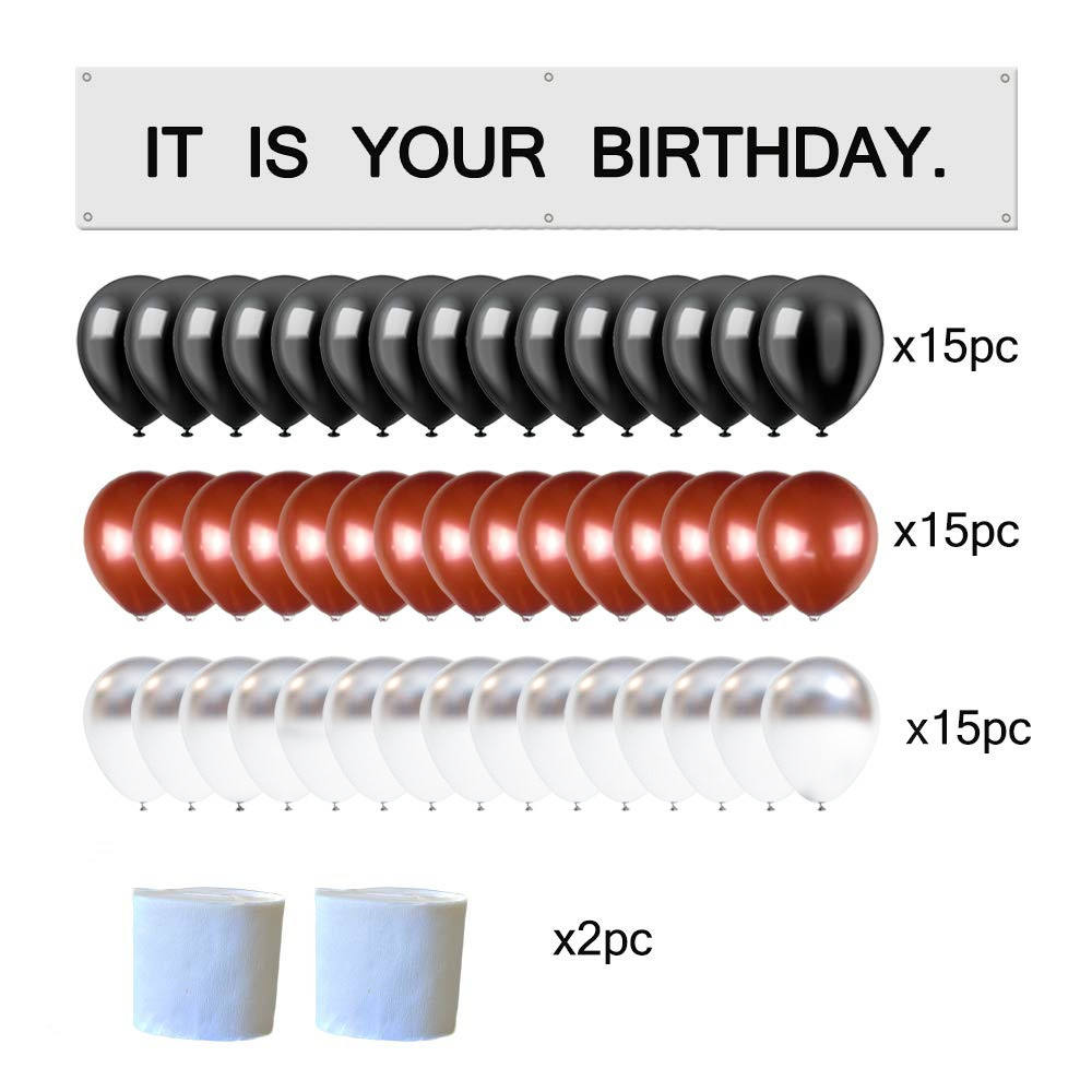 New It is Your Birthday Banner office birthday party supplies decoration Banner Brown Black Silver Balloons White Crepe Streamer