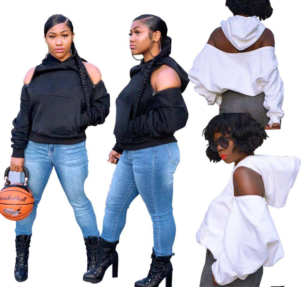 Womens Fashion Hoodie Top Off Shoulder Sexy Casual Cold Shoulder Female Hooded Tops White Black Ladies Long Sleeve Sweat RS00232