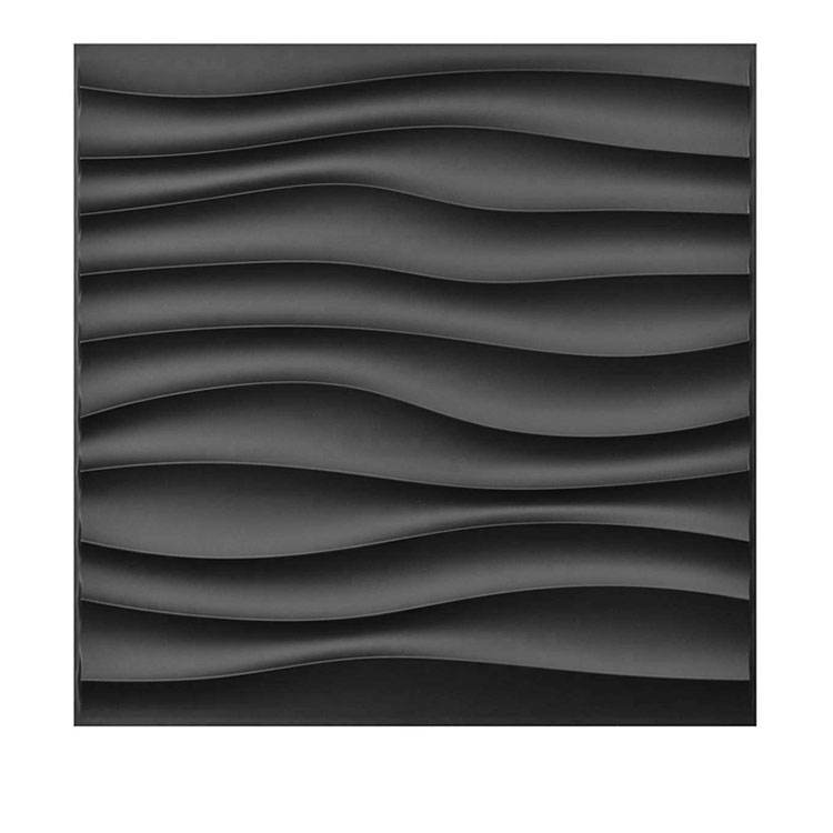 Black design 3d wallpaper artist wave modern 3d wall panel for commercial