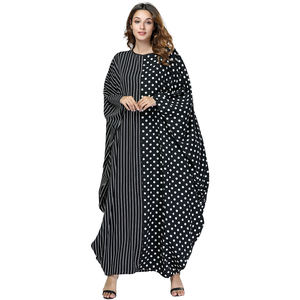 Contrast Color Stitching Point Stripe Batwing Women Loose Muslim Abaya Dress Islamic Clothing Dubai Caftan Eid Dresses Robes