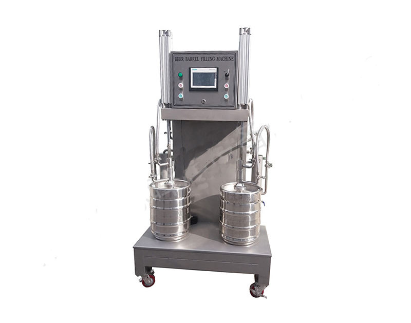 Two Stations beer keg filling capping machine
