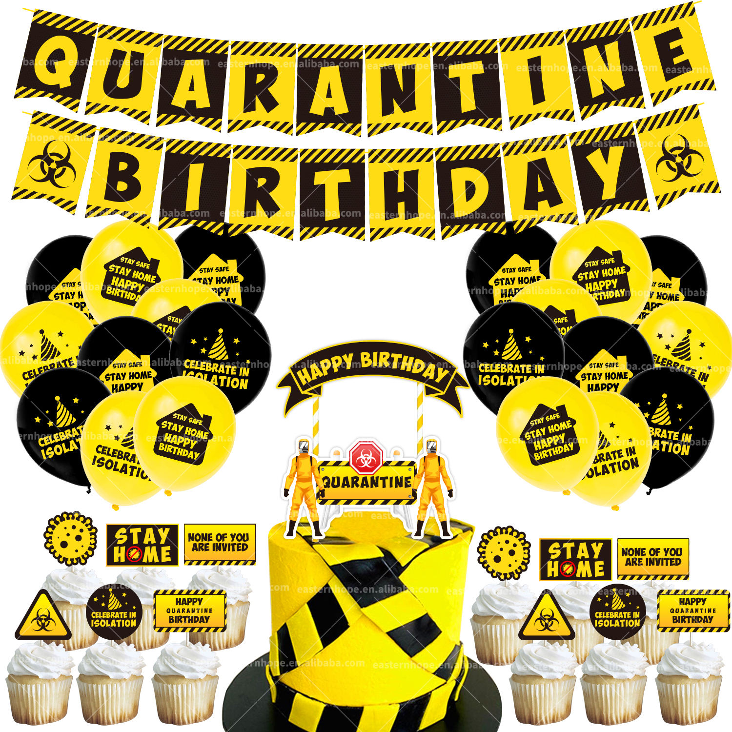 Stay at Home Party Decorations Social Distancing Quarantine Birthday Supplies Set Quarantine Party Supplies