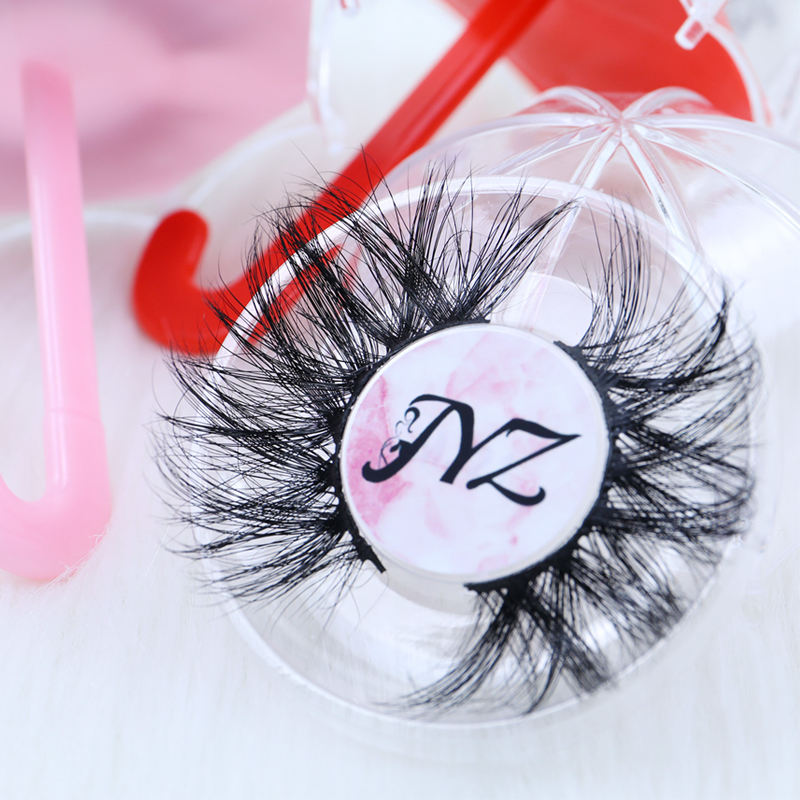 Hot selling 25mm long fluffy real mink fur eyelashes 25 mm lashes wholesale