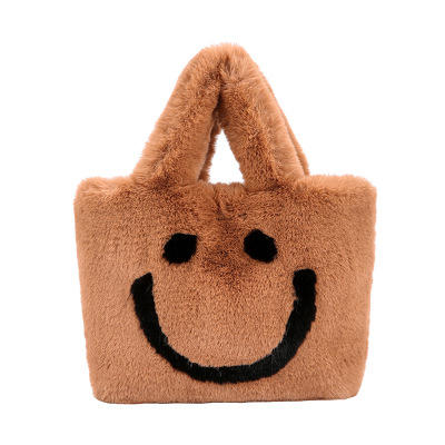 Hot sale Winter 2019 new style women fashion smile crossbody chain wool bucket tote bag