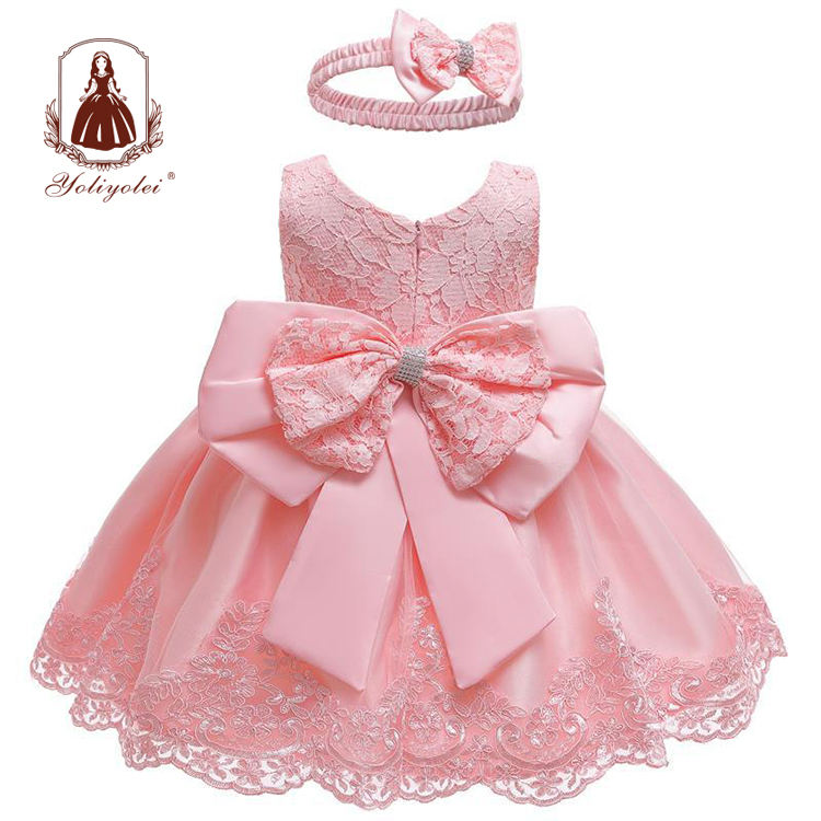 Pretty Peach Children's Girl Princess Flower Dress For Girl