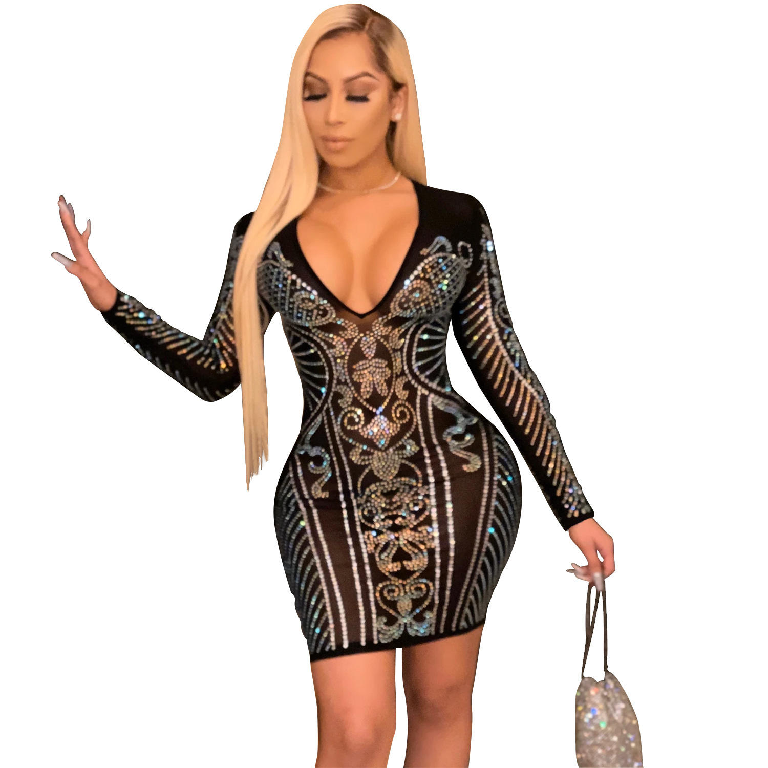 New Sexy V Neck Long Sleeve Bodycon Night Club Cheap Ladies Party Dress