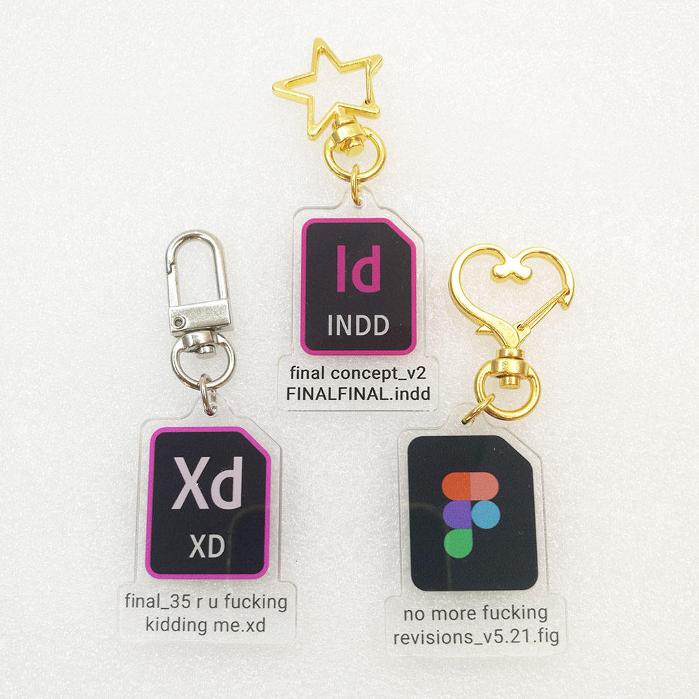 personalized double sided clear Adobe indesign premiere pro xd software icon acrylic key ring keychain charms for designer