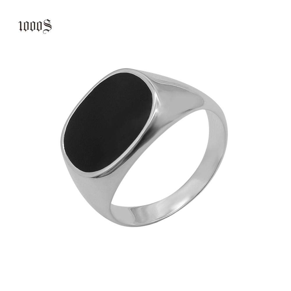 New Arrival Classic Men Ring, Men's Ring Black Jewelry Sterling Silver 925 Link Chain Necklace 18k