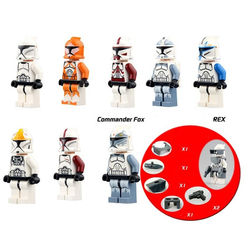 Star clone wars commander wolffe clone trooper mini figures with compatible legoe building brick model toy kids gift 8pcs