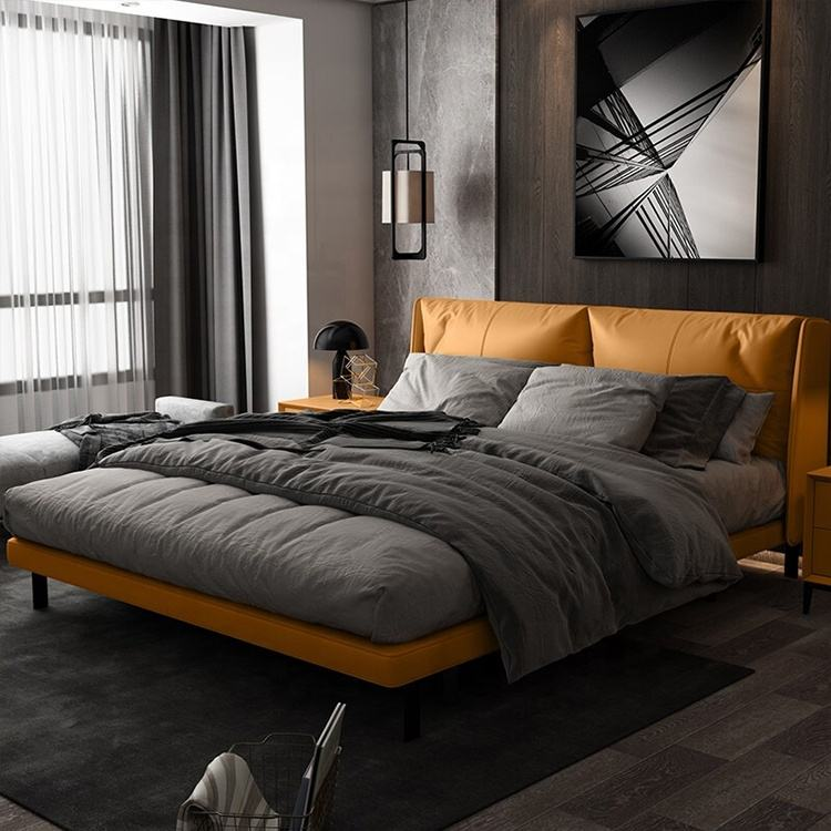 Italian Modern Design Leather Furniture Solid Wood Beds For Bedroom