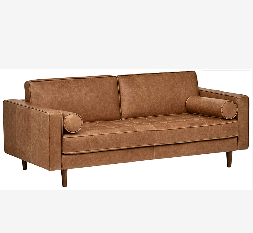 Tapered Hout Benen Moderne Sectionele Futon Woonkamer Getuft Mid-Eeuw Lederen Bench Loveseat Couch Sofa