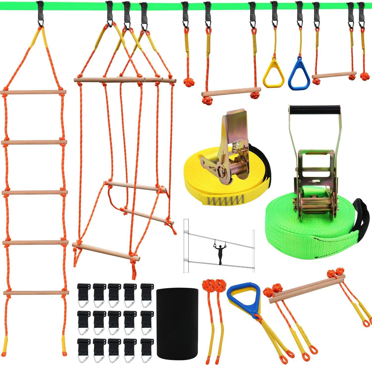 Ninja Warrior Obstacle Course For Kids Slackline Kit Ninja Line Training Equipment For Backyard Outdoor