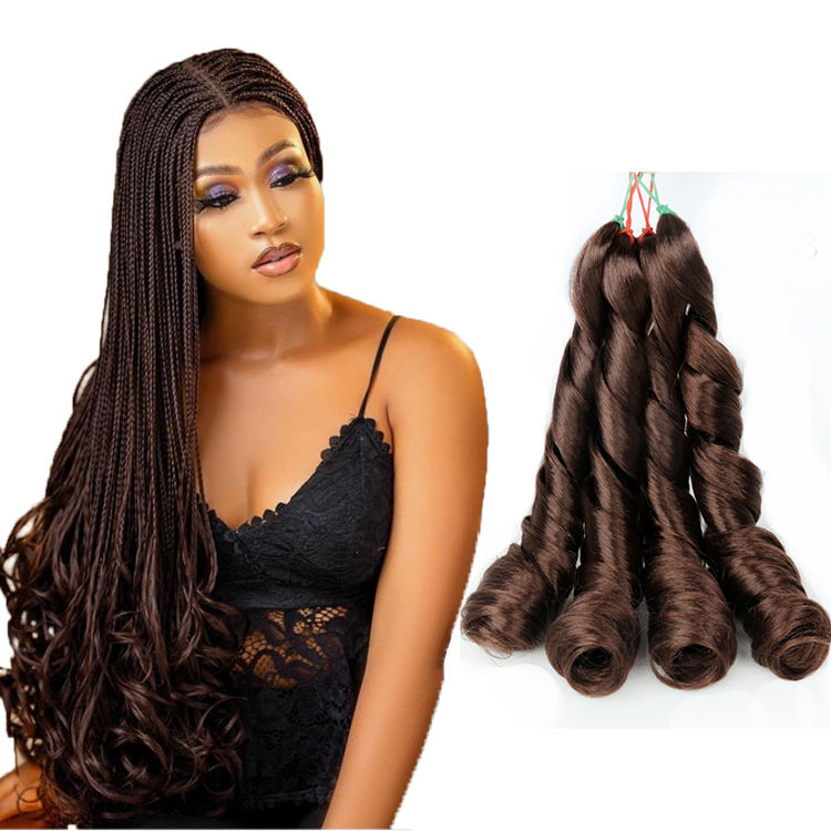 Julianna Loose Curls 24Inch Braiding Hair French Curls Synthetic Braiding Hair Spiral Curl Wavy Braids Pony Style
