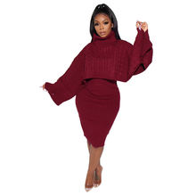 custom knitted  turtleneck tops sexy dress women sweater sets