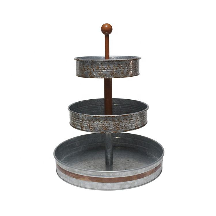 Galvanized Three Tiered Serving Stand 3 Tier Metal Tray for Cake Dessert Shrimp