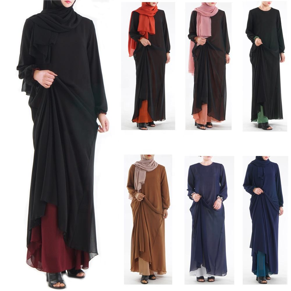 2020 Fashion Girl Chiffon Ladies Abaya Long Sleeve Maxi Dress Moroccan Wear Both Sides Muslim Dress Side Pocket Abaya