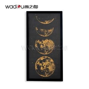 Home Designs Decorations Creative Ideas Black Glass Gold Foil Moon Home Decor Cheap Wall Art With Frame