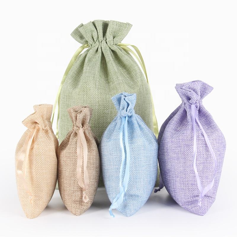Eco-friendly quality custom cheap linen drawstring bag small muslin pouch recycled drawstring pouch for promotional