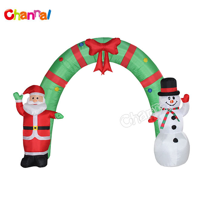 2020 New Design Say Hi Snowman And Santa Inflatable Archway Arch Yard Christmas Decoration