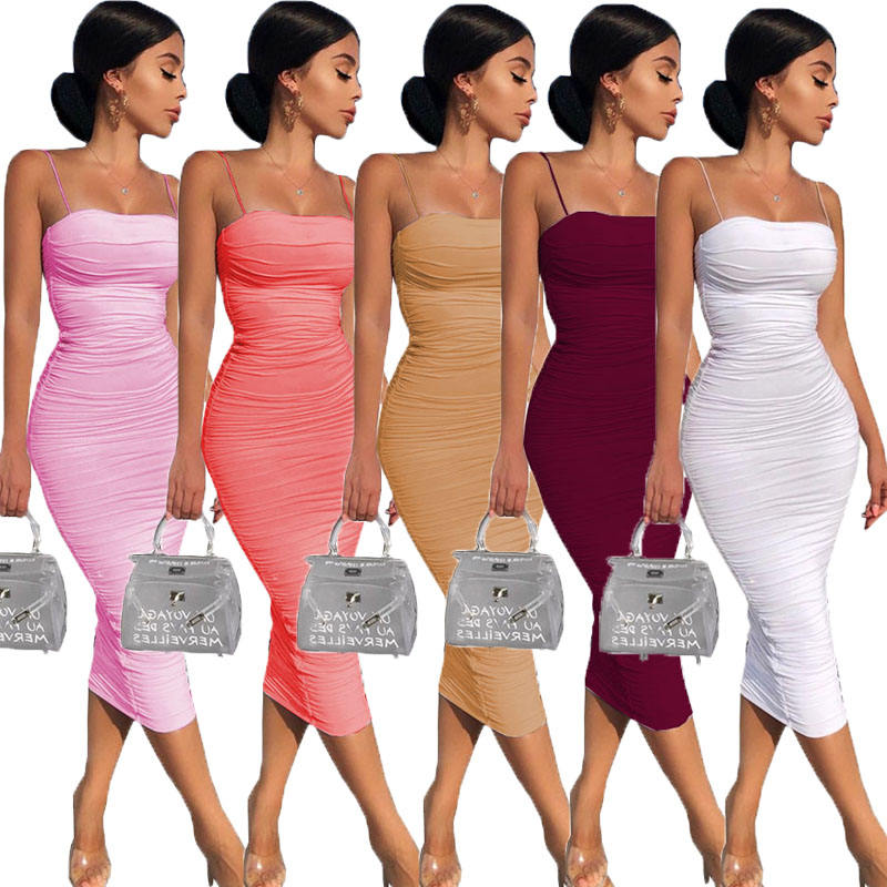 Customize 2 Layers White Summer Dress Women 2020 Elegant Ruched Maxi Dress Pink Party Long Dress Sexy Woman Party Night