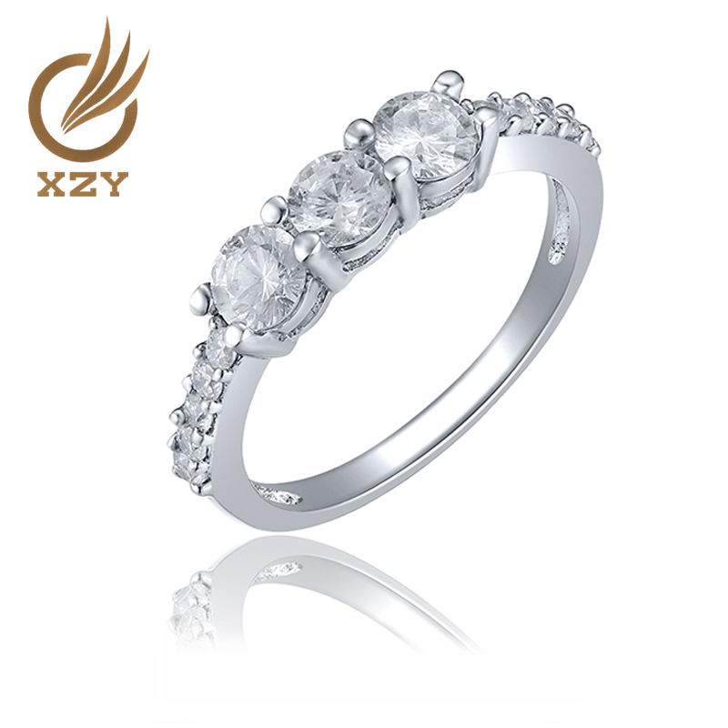 925 silver classical engagement ring with cz and gems stone rhodium plating