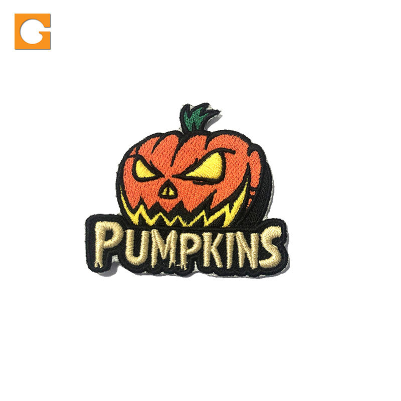 Custom handmade free sample pumpkin patch woven embroidery patch panda patch with letter alphabet for garment sweatshirt