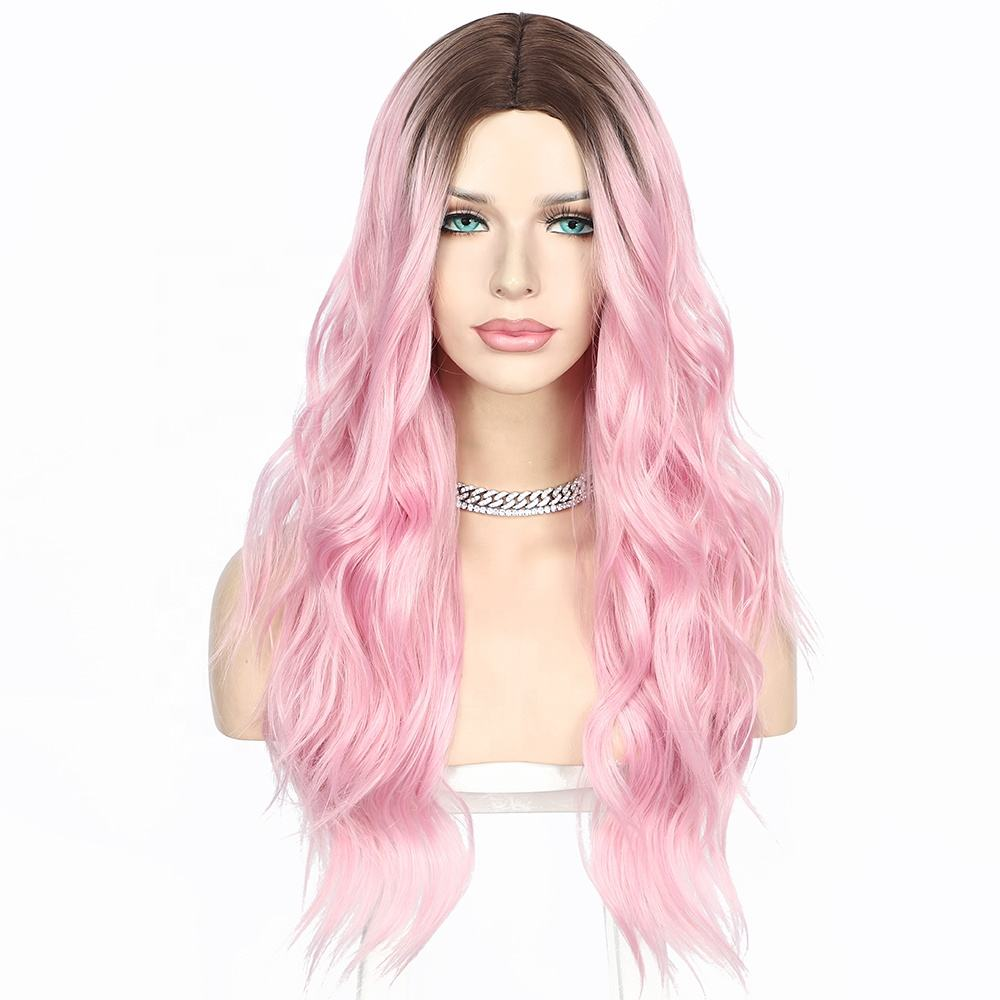Wholesale price wigs synthetics colors pink and violet fast shipping synthetic wigs futura fiber lace wigs