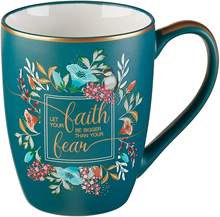 Blue Bible Verse Mug Floral Faith  Ceramic Coffee Mug for Women & Men  The Desires of Your Heart